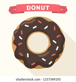 Vector icon of a sweet donut in chocolate glaze. Illustration of a dessert in a flat style. Text: Donut.