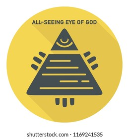 Vector icon Symbol of the all-seeing eye. The Masonic all-seeing eye in the pyramid. Illustration in a flat style. Text: The all-seeing eye of God.