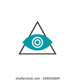 Vector Icon symbol of the Masons All-Seeing Eye. Sign of the Eye of God in the pyramid triangle.