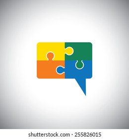 vector icon of talk or chat icon or speech bubble as puzzle. This graphic can represent communication process, people interaction, speech & understanding, discussion & listening, know & learn