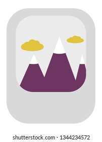 Vector icon of tall mountains in the clouds