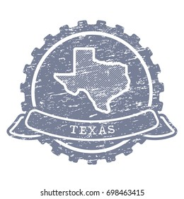 A vector icon of Texas state made with simple isolated shapes in vintage style and grunge textures.