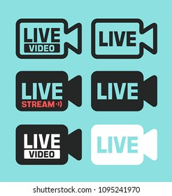 Vector Icon Theme Digital Technologies, Live and Online Video. Icon of the silhouette of the camera with the text: Live Video, Live Stream.
