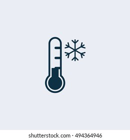 vector icon thermometer and snow