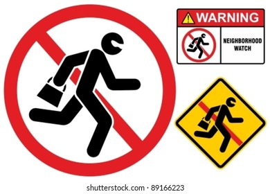 Vector icon of a thief running away with a bag.