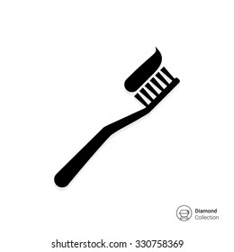 Vector icon of toothbrush with applied toothpaste portion