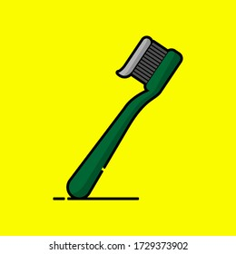 Vector icon of toothbrush in cartoon style. Vector illustration with yellow background.