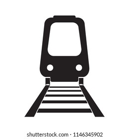 vector icon of train run on rail, transportation concept on white or isolate background
