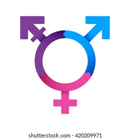 Vector icon of transgender symbol combining gender symbols