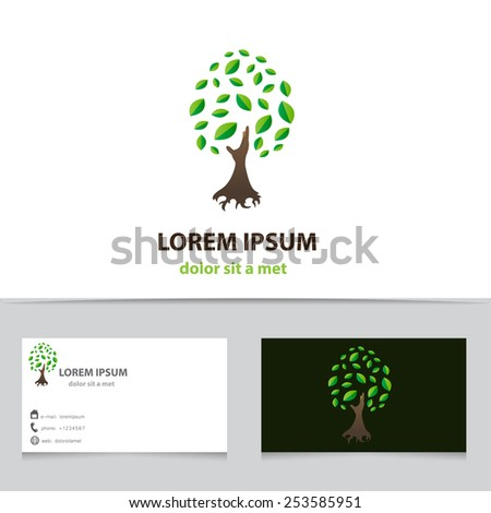 Vector icon tree business card template stock vector royalty free vector icon tree with business card template creative logo idea for your company colourmoves