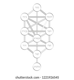 vector icon with tree of life Kabbalah symbol for your design