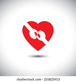 vector icon of two hands touching with heart - concept of love. This also represents concepts like support, help, empathy, kindness, partnership, friendship, cooperation, commitment, compassion, give