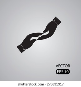 vector icon of two hands touching - concept of receiving giving. This also represents concepts like support help empathy kindness partnership friendship cooperation commitment compassion