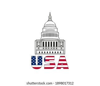 Vector icon of united states capitol hill building washington dc american congress white symbol design on white background