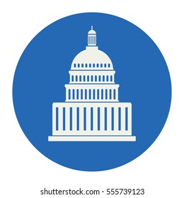 vector icon of united states capitol hill building washington dc, american congress, government house of america, white symbol design on round blue background
