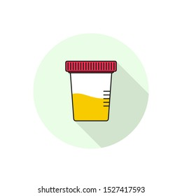 Vector icon for urine test jars on a white background in flat style