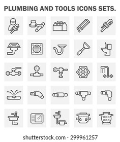 Vector icon of water pipe and sanitary ware and problem of plumbing work.