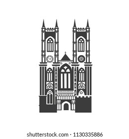 Vector icon Westminster Abbey. Silhouette on white background.