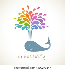 Vector icon of whale with color fountain. Original sign with concept of idea and creativity. Decorative illustration for print, web