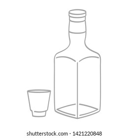 vector icon with whiskey bottle and glass
