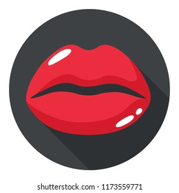 Vector icon woman lips. Kissing Lips are red. Illustration in a flat style.