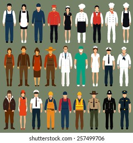 vector icon workers, profession people uniform, cartoon vector illustration