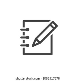 Vector icon write on note flat line style