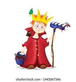 vector icon of a young king with a bucket with rowan leaves with a crown on his head and a rake with a crow on his shoulder, a funny cartoon character, a card, an icon for printing on a T-shirt eps 10