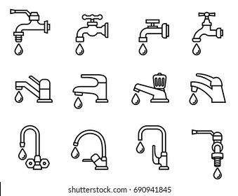 vector icon-illustration of the faucet with water drop. Tap sign. Bathroom symbol. Line Style stock vector.