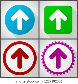 Vector icons with 4 options. Up arrow flat design icon set easy to edit in eps 10.