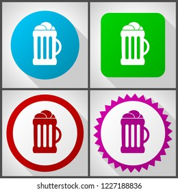 Vector icons with 4 options. Beer flat design icon set easy to edit in eps 10.