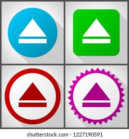 Vector icons with 4 options. Eject flat design icon set easy to edit in eps 10.