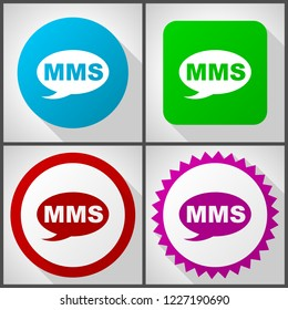 Vector icons with 4 options. Mms flat design icon set easy to edit in eps 10.