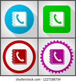 Vector icons with 4 options. Phonebook flat design icon set easy to edit in eps 10.