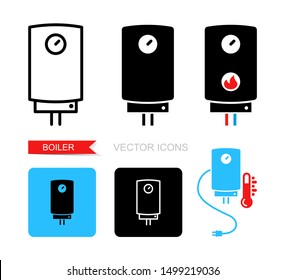 Vector icons of the boiler. Symbol of heating equipment.