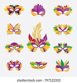 Vector icons of carnival masks. Bright illustrations of different types of masks for carnivals and parties. Masks for the holiday Mardi Gras.