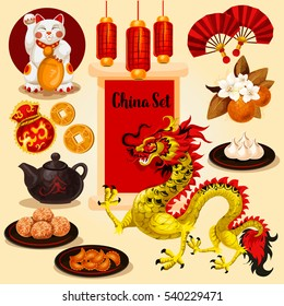 Vector icons chinese new year set. Detailed colored illustrations. Decoration elements.