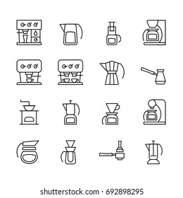 Vector icons of coffeemakers in the style of minimalism. Light line symbols of machines for coffee for your design.
