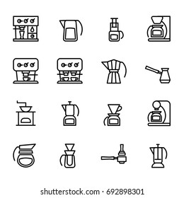 Vector icons of coffeemakers in the style of minimalism. Bold line symbols of machines for coffee for your design.