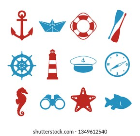 Vector icons collection set with maritime silhouettes of paper ship, skipper hat, compass, anchor, lighthouse, wheel, fish, seahorse, starfish and binoculars