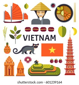 Vector icons collection of Vietnamese culture, food and nature, including Portrait of Vietnamese, soup pho, Cham towers and rice plantations and civet cat in trendy flat style.