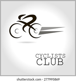 Vector icons cycling club of black and gray, with an inscription