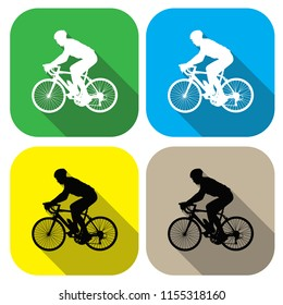 Vector Icons. A cyclist icon. Badge in a flat design. For the web concept and mobile devices.