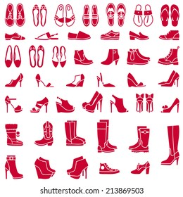 Vector icons of different shoes and boots