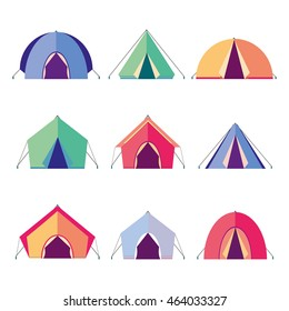 Vector icons different tents for camping. house for tourists. Flat design. Elements for infographic