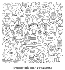 Vector icons and elements. Kindergarten, toys. Little children play, learn, grow together.