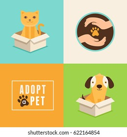 Vector icons in flat style - adopt a pet - emblems and illustrations with cat and dog