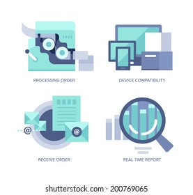 Vector icons in flat style of online order processing and managing for web, mobile applications and print design