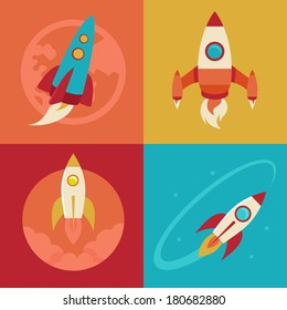 Vector icons in flat style - start up and launch. Trendy Illustrations for new businesses, innovation and development