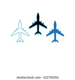 Vector icons flying planes on a white background